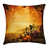 WCMBY Pumpkin Throw Pillow Cushion Cover, Seasonal Fresh Fruit Autumn Valley Food Basket Grapes Mushrooms Chestnuts, Decorative Square Accent Pillow Case, 18 X 18 inches, Green Brown Orange