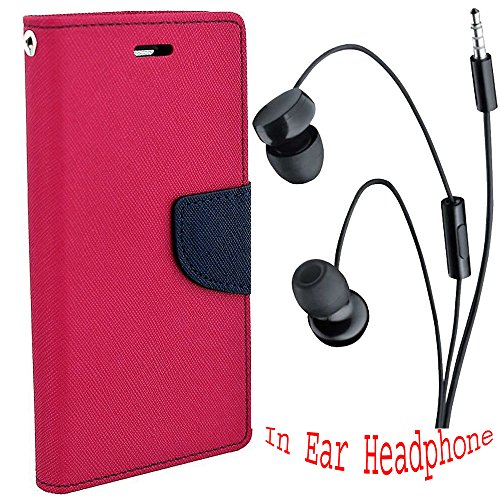 Avzax Stylish Luxury Magnetic Lock Diary Wallet Style Flip Cover Case for HTC Desire 816G (Pink) + in Ear Headphone