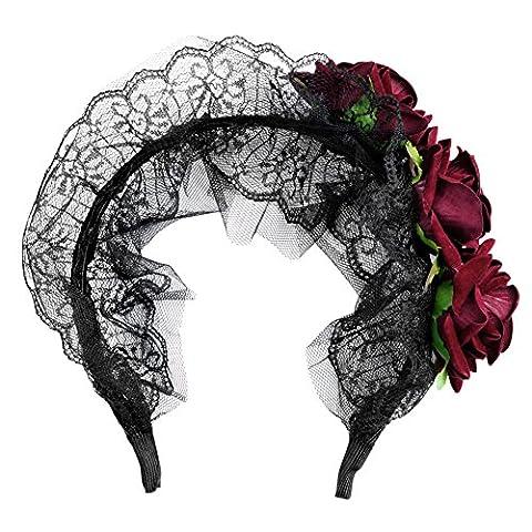 Eleery Serre Tête Femmes Bandeau Bande Cheveux Dentelle Rose Fleur Déguisement Zombie Accessoire Cosplay Halloween Toussaint Fête Sexy Party