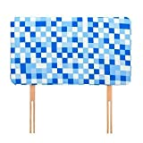 Ready Steady Bed® Blue Pixels Design Children's Single Headboard 3ft Bed Size Foam Upholstered