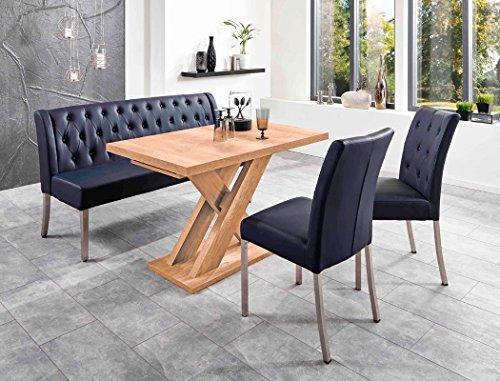 Tischgruppe Milan Honigeiche dunkelblau Bank 2x Stuhl Säulentisch Esstisch Tisch Sitzgruppe Bankgruppe (Milan-bank)
