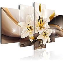 murando - Cuadro en Lienzo 200x100 cm - Flores - Impresion en calidad fotografica - Cuadro en lienzo tejido-no tejido - Azucena abstraccion b-A-0251-b-n