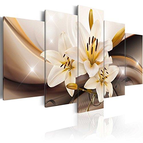 murando Quadro 200x100 cm 5 Pezzi Stampa su Tela in TNT XXL Immagini Moderni Murale Fotografia Grafica Decorazione da Parete Fiore Giglio Astratto b-A-0251-b-n