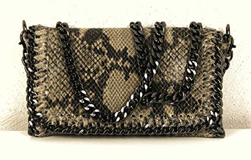 Pochette da donna, Lani, piccola, effetto pelle, glitter, effetto metallizzato, con catenella, Schwarz Glitzer Big (nero) - 1211161254 Hellbraun Echtleder Reptiloptik Glanz