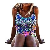 SUCES Damen Bikini Set 2018 Sommer Sexy Damen Einteiler Bikini Push-Up gepolsterte Bademode Badeanzug Badeanzug Bademode Bikini-Sets Tankini Blume Push Up Badeanzug (M, Blue)