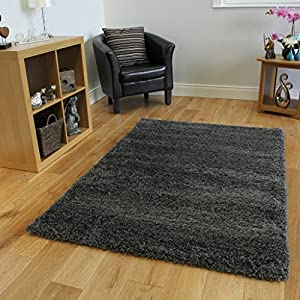 Super Soft Luxury Grey Shaggy Rug 5 Sizes Available by The Rug House