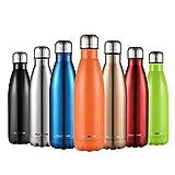 CMXING Bottiglia Acqua, 500ml/ 750ml Doppia Parete Acciaio Inox Sottovuoto Coibentato Bottiglia Termica, Sport Borracce Thermos(Arancione, 500ML)