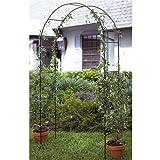 #0107 Garten Rosenbogen aus Metall in grün 240 x 140 cm, Rankhilfe • Torbogen Ranksäule Rankgitter Spaliere Gartenelement