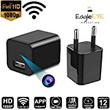 EagleEye 1080P HD USB Wall Charger WiFi Hidden Spy-Camera for Use in Security Surveillance or as Mini Nanny Camera