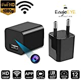 #3: EagleEye 1080P HD USB Wall Charger WiFi Hidden Spy-Camera for Use in Security Surveillance or as Mini Nanny Camera