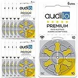 Hörgerätebatterie von Audilo 10 Prämie (PR70)   Für alle Arten von Hörgeräten [Ohne Quecksilber] [Zink-Luft] [1.45V] Satz 60: 10 Karten von 6 Hörenden Batterien   Gelbe Schlaufe