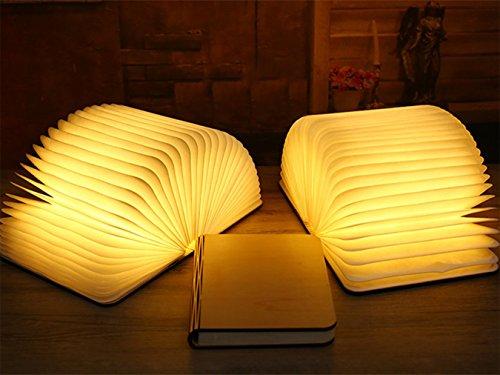 Lampada da tavolo a libro pieghevole in legno, batterie ricaricabili al litio ricaricabili da 2500 mAh USB ricaricabile da tavolo Lampada da tavolo per arredo, nuovo regalo di compleanno per donna - 5
