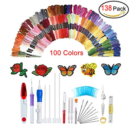 138 pz magic ricamo penna punch ago da ricamo, set di penne, ricamo kit punch needle craft tool, tra cui 100 color infila fili per fai da te cucito a maglia