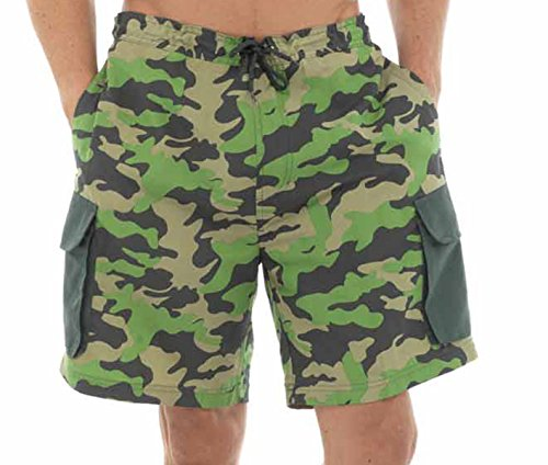 Short de bain pour homme Imprimé Camouflage Cargo pour Homme avec poches latérales et taille élastique Vert