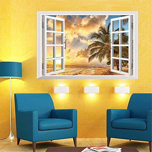 Preisvergleich Produktbild 3D-Sticker (Strand) Stereo/Hintergrund/fake Windows/Aufkleber/Fashion/Persönlichkeit/Umwelt/Wand (85 * 57 cm)