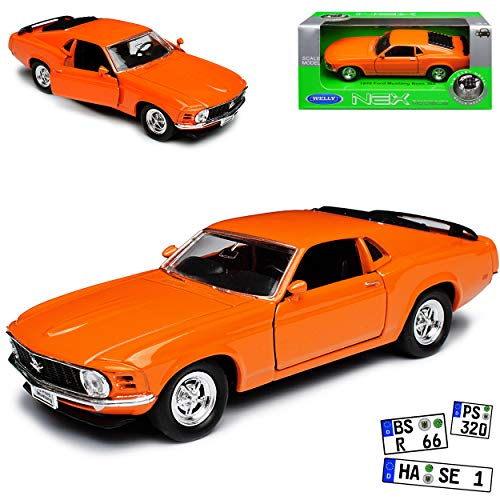 Ford Mustang Boss 302 Coupe I Orange 3. Generation 1969-1970 ca 1/43 1/36-1/46 Welly Modell Auto