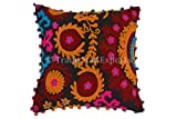 Trade Star Suzani Cushion 16x16, Bohemian Cushion Cover, Pom Pom Pillows, Decorative Throw Pillowcases