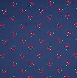 0,5m Jersey kleine Kirschen dunkelblau Motivgröße ca. 2cm