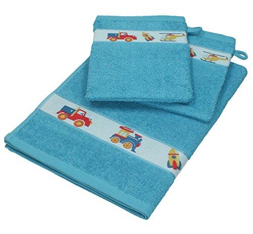 Betz 3 tlg. Baby Handtuch Set 100% Baumwolle 1 St. Kinderhandtücher 2 St. Waschhandschuhe FAHRZEUGE Farbe blau
