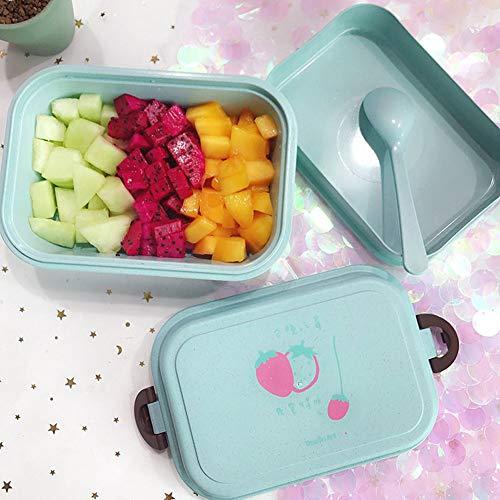 JKLKL Umweltfreundlich Wiederverwendbares Weizenstroh Besteck Lunchbox Doppel Lunchbox Mikrowelle Frisch Wiederverwendbarer Lebensmittelbehälter Umweltschutz Auslaufsicher,Blau