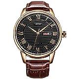 BUREI Classic día y fecha Unisex Reloj con números romanos y negro Dial de banda marrón (negro-marrón)
