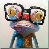 fokenzary pintado a mano de pintura al óleo, diseño de rana con gafas sobre lienzo estirada y enmarcado listo para colgar, 24x24in