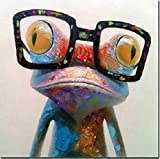 Fokenzary Hand Painted Oil Painting Cute Frog on Canvas Stretched and Framed Modern Pop Canvas Wall Art Decor