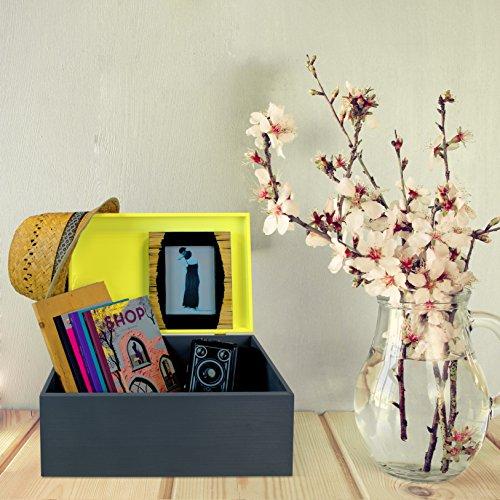 Caja de madera universal con tapa para almacenamiento - Pino de dos tonos Negro Amarillo Pintado - 33 x 24 x 16 cm aprox - Grinscard