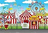 YongFoto 2,2x1,5m Fondo de Fotografia Circo Parque Atracciones Patio recreo Tiendas campaña Taquilla Carrusel Rueda Fortuna Telón de Fondo Photo Booth Infantil Party Banner Niños Photo Studio Atrezzo