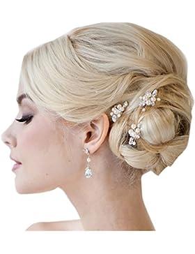 Gracewedding - Forcine per capelli da sposa in cristalli di strass (Confezione da 3 pezzi)