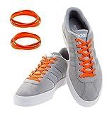 MAXXLACES Flache elastische Schnürsenkel mit einstellbarer Spannung in verschiedenen Farben Schuhbänder ohne Binden komfortable Schuhbinden einfach zu bedienen Past zu jedem Schuh (Orange neon)