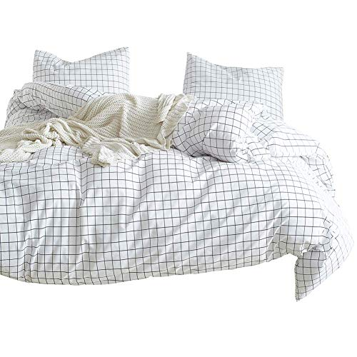 Plaid Duvet Cover Set Single Bed Black and White Checkered with 1 Pillow Sham - Hotel Quality 100% Microfiber - Luxurious, Comfortable, Breathable, Soft and Extremely Durable