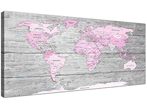 Groß, Rosa Grau Weltkarte Atlas Leinwand Wandbild Kunstdruck–Karten, Modern 120cm breit–1302Wallfillers