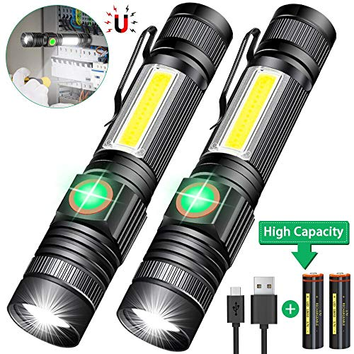 Zoom Adjustable Focus Tactical Flashlights LED Torch Portable Hand Torches for Outdoor Camping Hiking 2 Pack iToncs Flashlight Work Torch Light COB Magnetic with 6 Modes