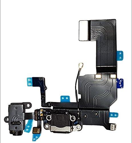 SMARTEX Ladebuchse mit Flex Kabel Kompatibel mit iPhone 5C Schwarz – Dock Connector mit integrierten Mikrofon, Homebutton, Lautsprecher Anschluss