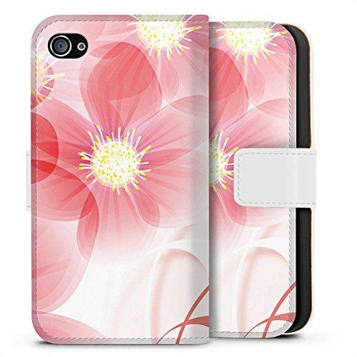 Apple iPhone X Silikon Hülle Case Schutzhülle Blume Blüte Blatt Sideflip Tasche weiß