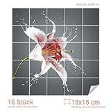 Graz Design 765270_15x15_60 Fliesenaufkleber Lilie/Blume für Kacheln | Bad-Fliesen mit Fliesenbildern überkleben (Fliesenmaß: 15x15cm (BxH)//Bild: 60x60cm (BxH))