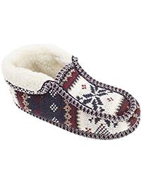 Slumberzzz - Zapatillas de estar por casa con diseño de mocasín bota para mujer