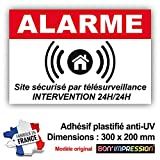 Autocollant Alarme + plastification de Protection Anti UV : Site sécurisé par télésurveillance - Intervention 24H/24H - ARB (300 x 200 mm)...