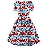 Soupliebe Frauen V Ausschnitt Frohe Weihnachten Urlaub Vintage Christmas Print Princess Dress Abendkleider Cocktailkleid Partykleider Blusenkleid