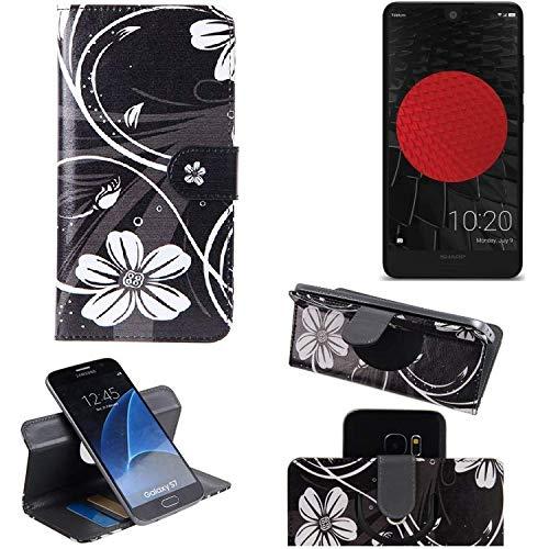 K-S-Trade Schutzhülle für Sharp Aquos C10 Hülle 360° Wallet Case Schutz Hülle ''Flowers'' Smartphone Flip Cover Flipstyle Tasche Handyhülle schwarz-weiß 1x