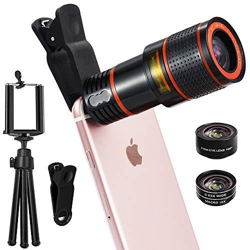 CLM-Tech Objektiv Handy-Kamera 5in1 universelles 8-Fach Zoom Teleobjektiv, Weitwinkel-, Fischauge- und Makro Linse inklusive Stativ für Smartphones, schwarz