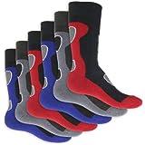 6 Paar Herren Thermo Socken Vollfrottee im sportlichen Design - super weich und warm - in 3 modischen Farbkombinationen