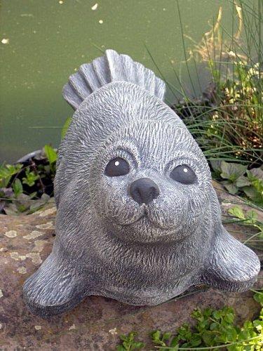 Steinfigur Seehund groß Schiefergrau, Deko Figur Teich Garten Stein frostsicher