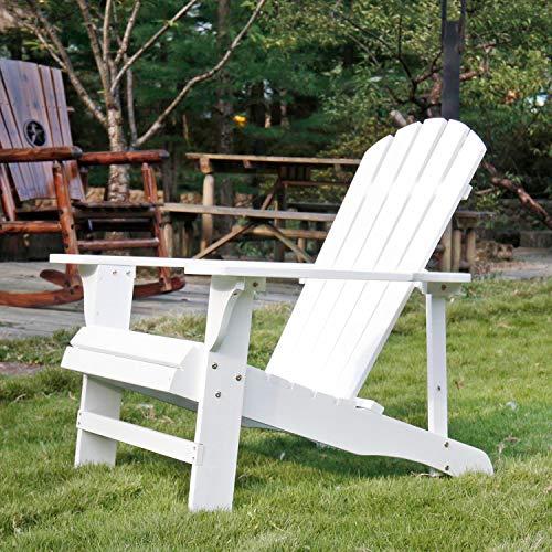 SFYLODS Adirondack Stuhl/Muskoka Stühle, für den Außenbereich, lackiertes Holz, Weiß