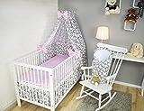 Amilian® Baby Bettwäsche 5tlg Bettset mit Nestchen Kinderbettwäsche Himmel 100x135cm Schmetterling grau/Pünktchen Puderrosa Vollstoffhimmel