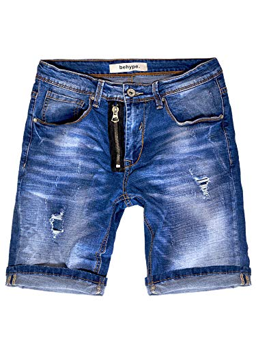 behype. Herren Jeans-Shorts Kurze Hose Destroyed Denim-Hose 80-9130 (W29, Blau (8876))