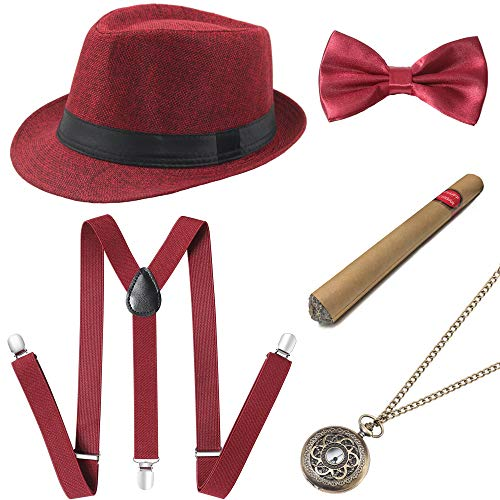 Coucoland 1920s Herren Accessoires Mafia Gatsby Kostüm Set inklusive Panama Gangster Hut Verstellbar Elastisch Hosenträger Herren Halsschleife Fliege Taschenuhr und Plastik Zigarre (Rot) (Große Gatsby Kostüm Männer)