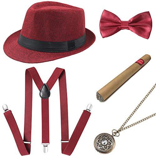 Rockabilly Kostüm Fasching - Coucoland 1920s Herren Accessoires Mafia Gatsby