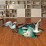 Möwe 3D PVC Abnehmbar Dekorative Wandaufkleber Schlafzimmer Bad Küche Bodenbelag Wasserdicht